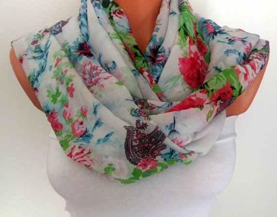 Floral Printed Scarf Silk Chiffon Scarf For Her Spring