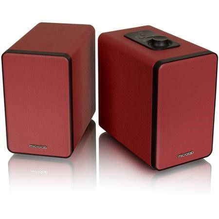 MICROLAB H21RED Microlab H21 Bluetooth Bookshelf Speaker System w Versatile Connectivity & Real Wooden & Leather Finishing Cabinets (Red)