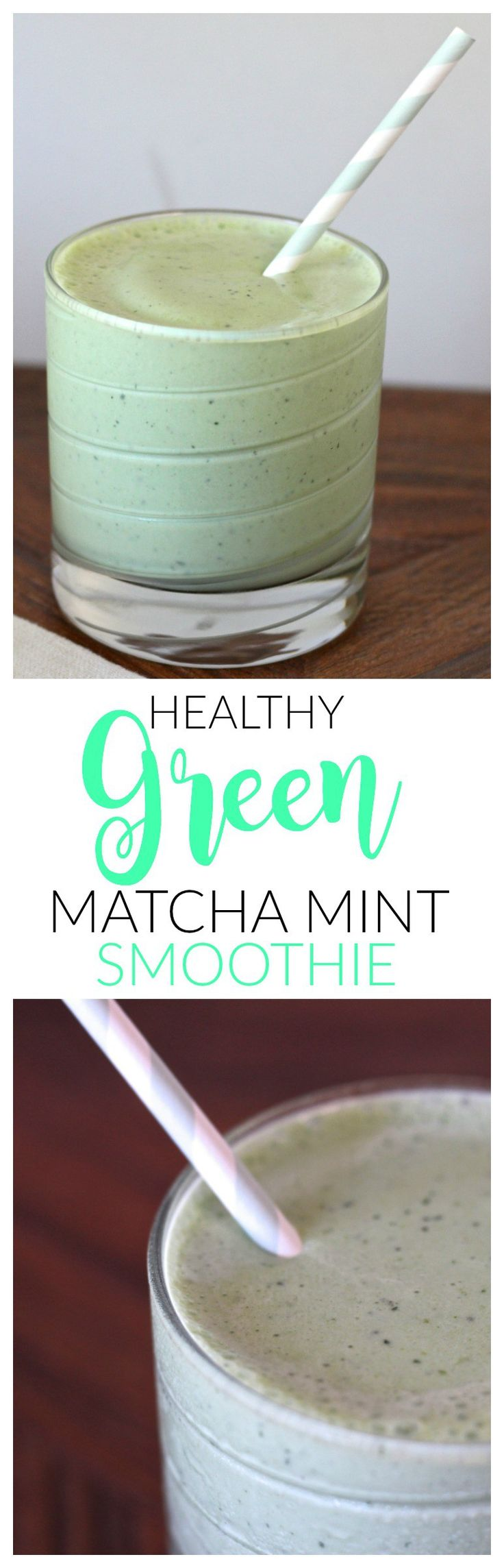 healthy green matcha mint smoothie