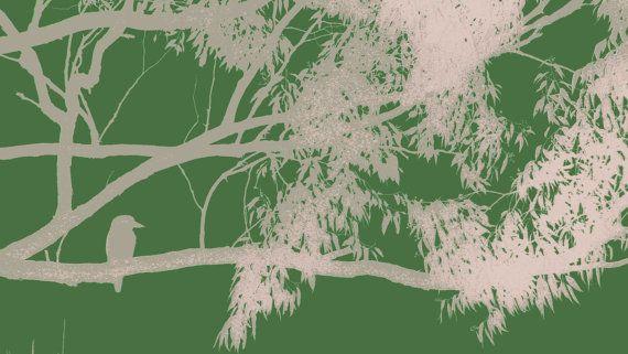 Stretched Canvas Bird on Branch by BlackbirdArtDesign on Etsy, $35.00