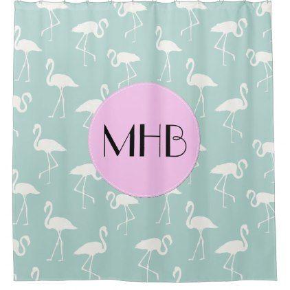 Monogram - Pattern Of Flamingos - Blue Pink Shower Curtain - shower curtains home decor custom idea personalize bathroom