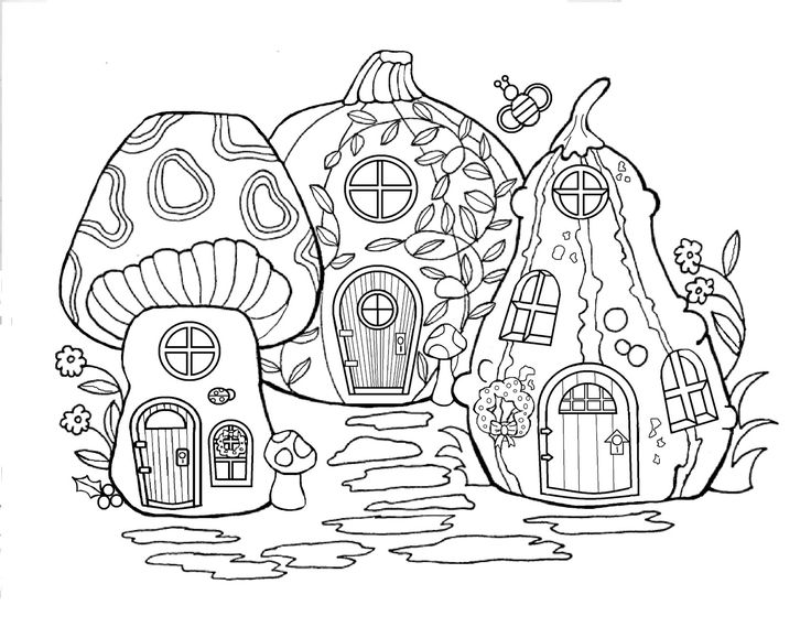 Printable Fairy Houses to color