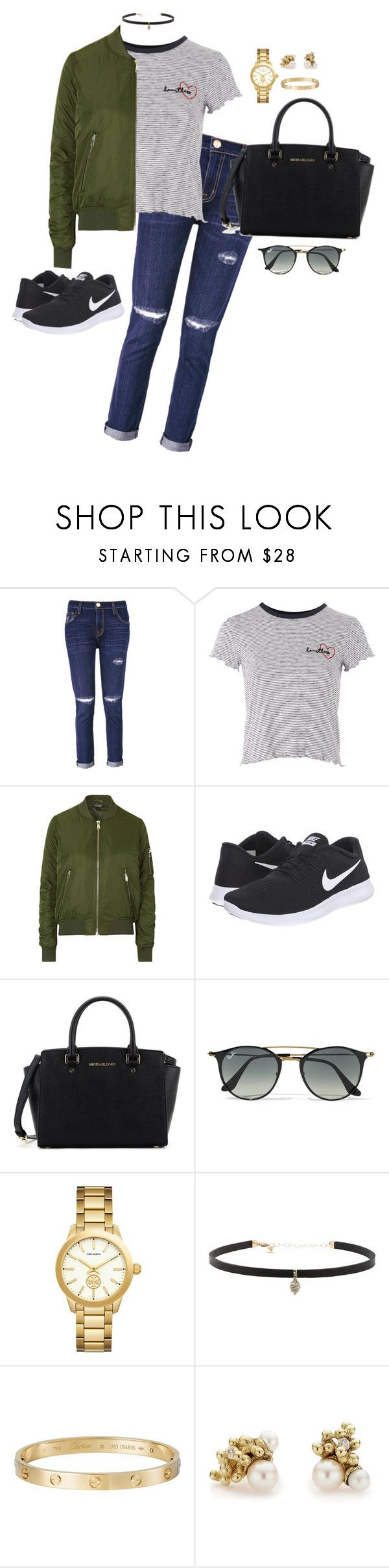 """""""Outfit 623"""" by caa123 ❤ liked on Polyvore featuring Current/Elliott, Topshop, NIKE, Michael Kors, Ray-Ban, Tory Burch, Carbon & Hyde, Cartier and Ruth Tomlinson"""