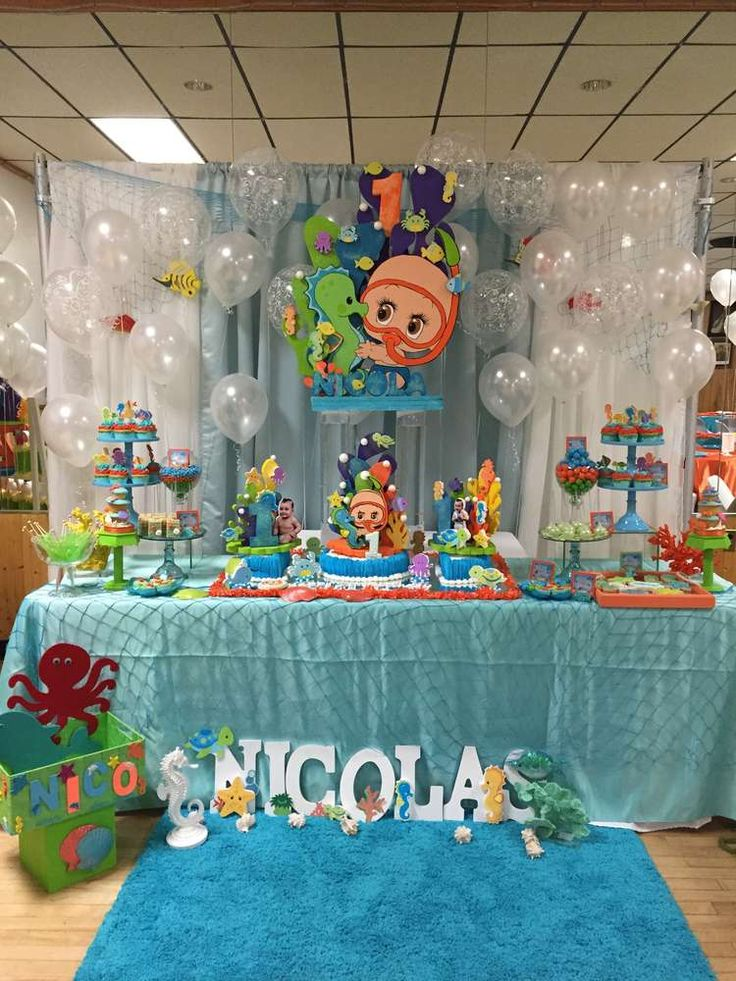 Amazing dessert table at an under the sea birthday party