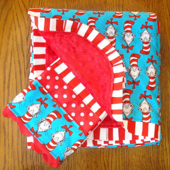 Cat In The Hat Dr  Seuss Minky Blanket and Burp Cloth Set. 48 best Cat in the hat room ideas images on Pinterest   2nd