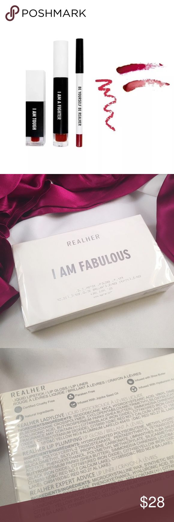 """REALHER """"I am Fabulous"""" Lip Kit: Deep Red Brand new sealed package. Lip kit includes a liquid lipstick, lip gloss and lip liner🌹🎈🍎 All in beautiful rich shades of red. PARABEN FREE👍🏽 CRUELTY FREE👍🏽 NATURAL INGREDIENTS 👍🏽 Realher Makeup Lipstick"""