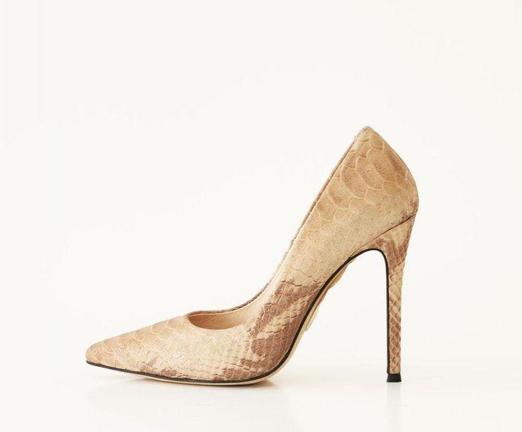 Bej Stiletto Topuklu Ayakkabı