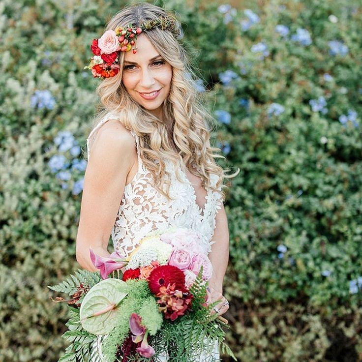 bohemian bride, trailing bouquet, bright flowers, flower crown