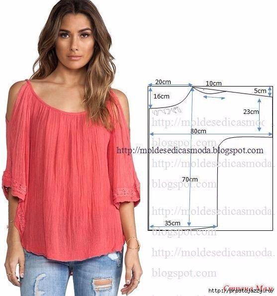 Простые выкройки блузы, туники и юбки