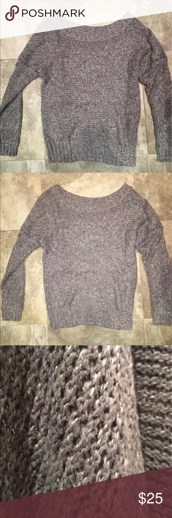 Aerie by American Eagle COMFY GRAY SWEATER This comfy gray sweater features upper arm cutouts and a wide neck, which depending on the person, can be worn as off-one-shoulder, off-both-shoulders, or as a regular crew neck. It is a size Medium but can be worn by a size Small (this is what I did) for a baggy but cute fit. Worn only once, washed and air dried for sale. Originally $59.95 from Aerie! So cute with black leggings and foldover Uggs or fuzzy slippers. Halter bralettes look adorable…