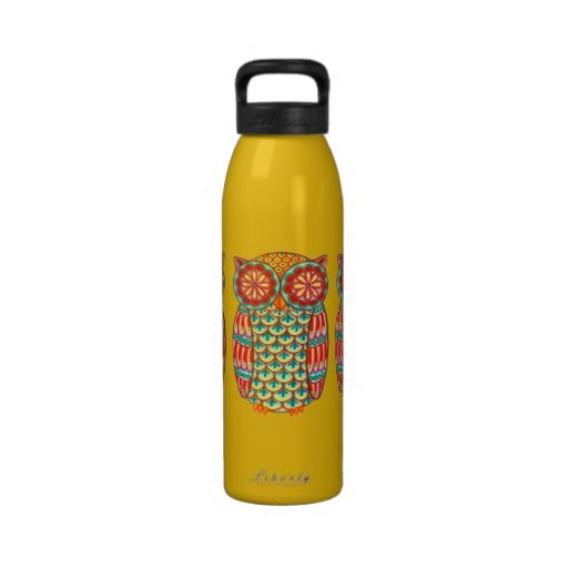 Groovy Retro Owl Water Bottle