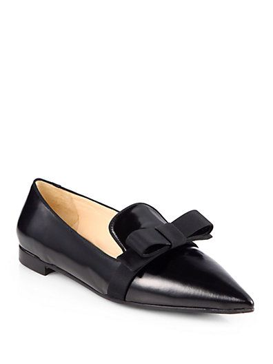 Absolutely in LOVE:  Prada - Leather Point-Toe Bow Ballet Flats - Saks.com