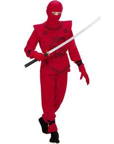 Fato de ninja dragão vermelho para menino