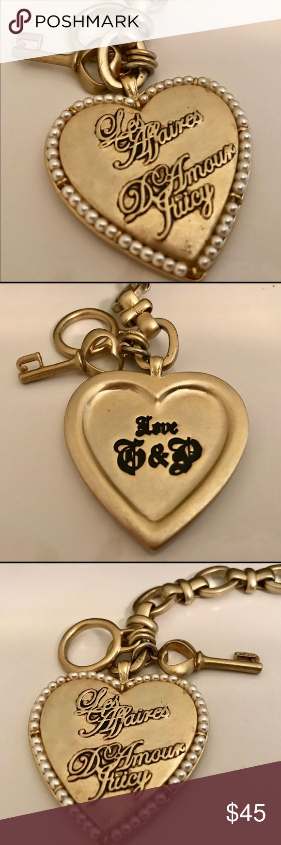 """Juicy Couture - Les Affaires D'Amour Bracelet 7"""" This is a fabulous toggle bracelet in brushed gold tone with oversized heart charm and pearl detail. Bracelet is 7"""". Heart and Pearl Charm is 1.5"""" x 1.5"""". EUC Juicy Couture Jewelry Bracelets"""