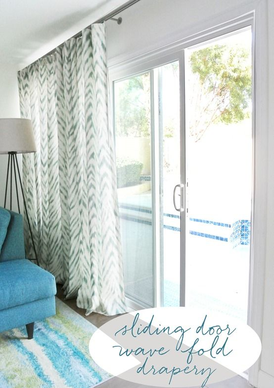 Smith and Noble\u0027s wave fold drapery system for sliding glass doors.