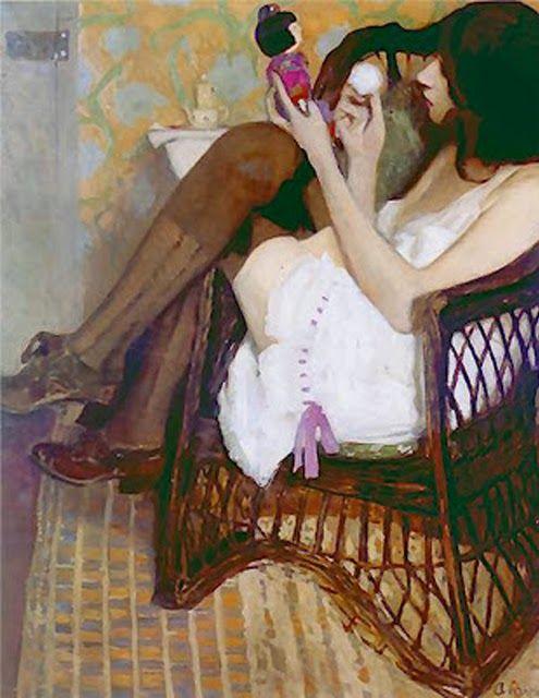 huariqueje:  Jane with a Japanese Doll -   Alfons Karpinski ca.1909 Polish 1875-1961