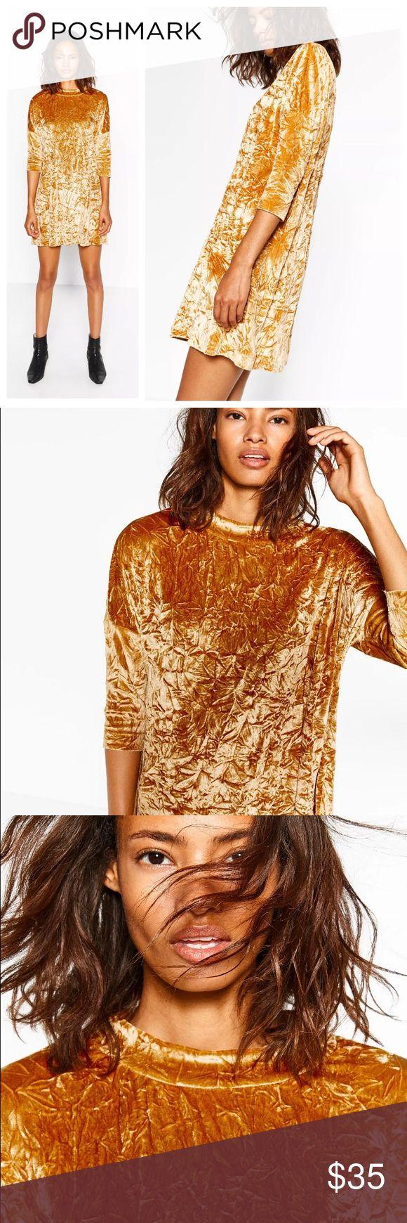 ZARA Velvet Feel Dress Crushed velvet feel sack dress with 3/4 dropped shoulder sleeves and round neckline. 92%poly 8%elastane Zara Dresses