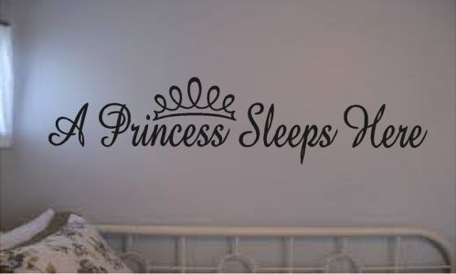 A Princess Sleeps Here Vinyl Wall Decal Home Decor Girls Room Priness Crown | eBay