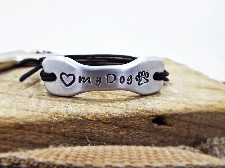Love My Dog Bracelet - Aluminum Personalized Bone shape heart and Paw bracelet - Best Gift for Dog mommies and Dog fathers Pet Lovers by Aluminiopassions on Etsy