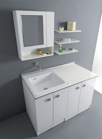Washing machine unit, made in V100 18 mm water-repellent laminate faced particleboard, top in glossy white bi-laminated melamine with Glass ...