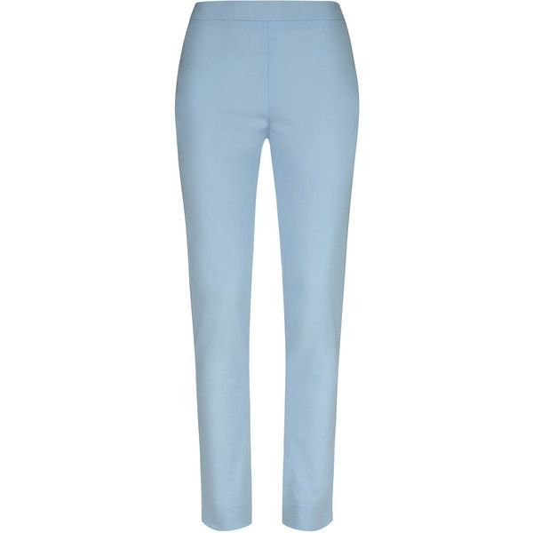 La Perla Essentials Bi-Stretch Cool-Wool Skinny Trousers ($550) ❤ liked on Polyvore featuring pants, light blue, super skinny pants, blue skinny pants, tailored pants, skinny trousers and creased pants