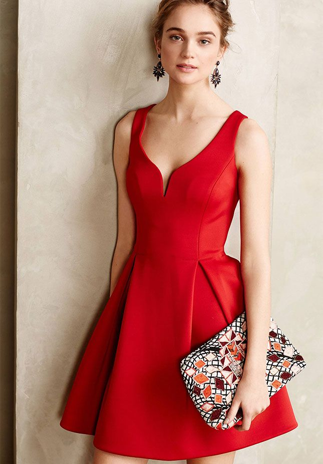 This red dress is perfect for the holidays.