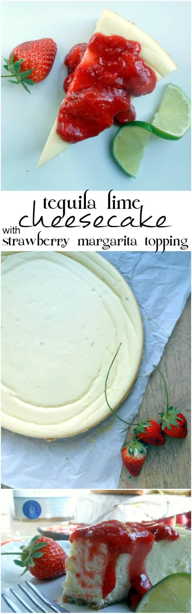 Tequila Lime Cheesecake with Strawberry Margarita Topping - Sugar Dish Me