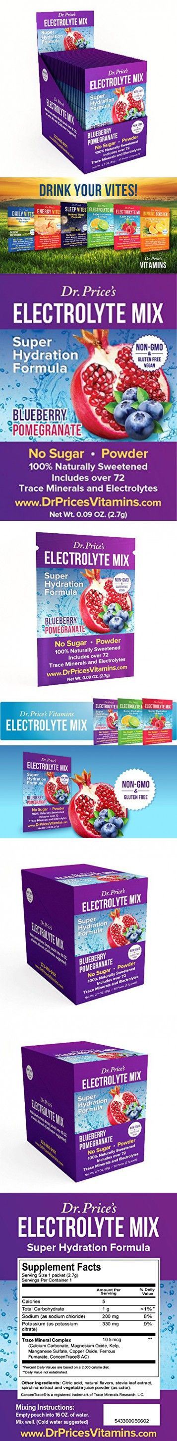 Electrolyte Mix Super Hydration Formula | NEW! Blueberry-Pomegranate Flavor (30 powder packets) Trace Minerals Sports Drink Mix | Dr. Price's Vitamins | Non-GMO, Gluten Free, No Sugar & Vegan