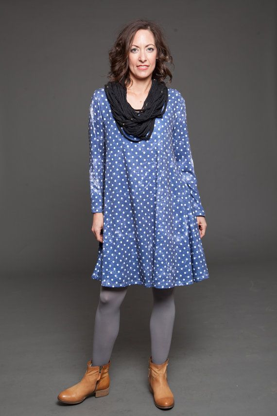 A beautifully blue polka dots over the knee A-line Dress- The kind of A Line mini dress that you dont want to take off. Its perfect as a day dress,