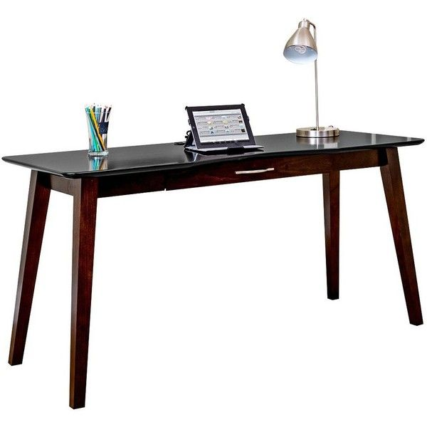 "Kathy Ireland Home iNfinity 60"" Onyx Black Writing Desk (47695 RSD) ❤ liked on Polyvore featuring home, furniture, desks, tables, kathy ireland desk, kathy ireland, infinity desk, kathy ireland home furniture and kathy ireland furniture"