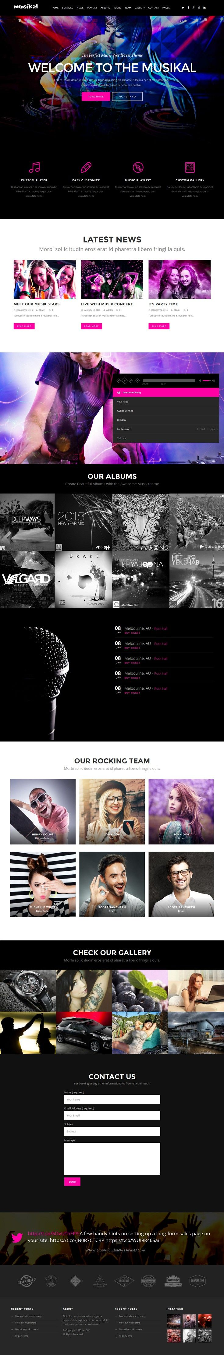 MUSIK is a Stylish, Responsive and Professionally Designed WordPress Theme best suitable for any kinds of #Music & Cinema activity, Bands, #Artist, Singers, Portfolios, App Showcasing and Concert or Festival #website. Download Now!