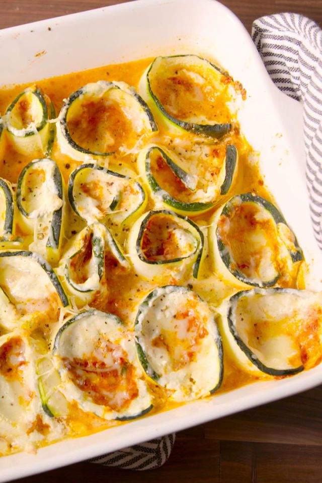 Zucchini Lasagna Roll-Ups. Blanche zucchini if necessary to soften and par cook. Sooooo tasty. Even better than pasta.
