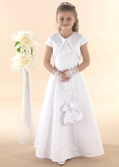 Schiffli lace and satin communion dress