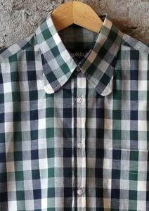 Spoon Collar Summer Gingham Shirt