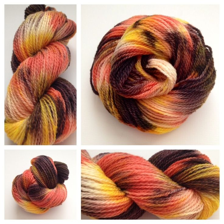 ~CAMPFIRE~ #handdyedyarn #yarnbaby Color(s): yellow, orange, red, white, black (I use only professional grade dyes)  Fiber(s): 100% USA grown merino  Weight: DK, 2-ply  Length/yardage: 200 yards (the set total is 600 yards)  Care instructions: hand wash, lay flat to dry