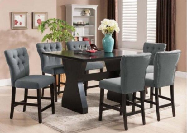 Acme Furniture - Effie 6 Piece Counter Height Table Set in Espresso - 71520-GR-7SET