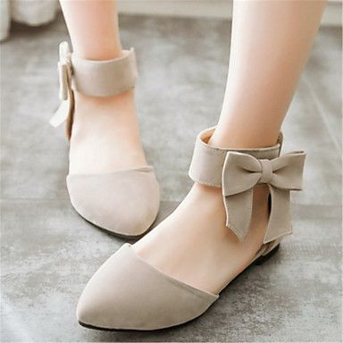 Women's+Shoes+Velvet+Flat+Heel+Mary+/+Pointed+Toe+Flats+Office+&+Career+/+Dress+/+Casual+Black+/+Green+/+Pink+/+Beige+–+USD+$+29.99