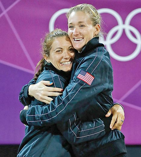 Olympic volleyball players, Misty May-Treanor and Kerri Walsh Jennings competed for their third Olympic gold medal Wednesday against fellow Americans Jennifer Kessy and April Ross -- and won it!