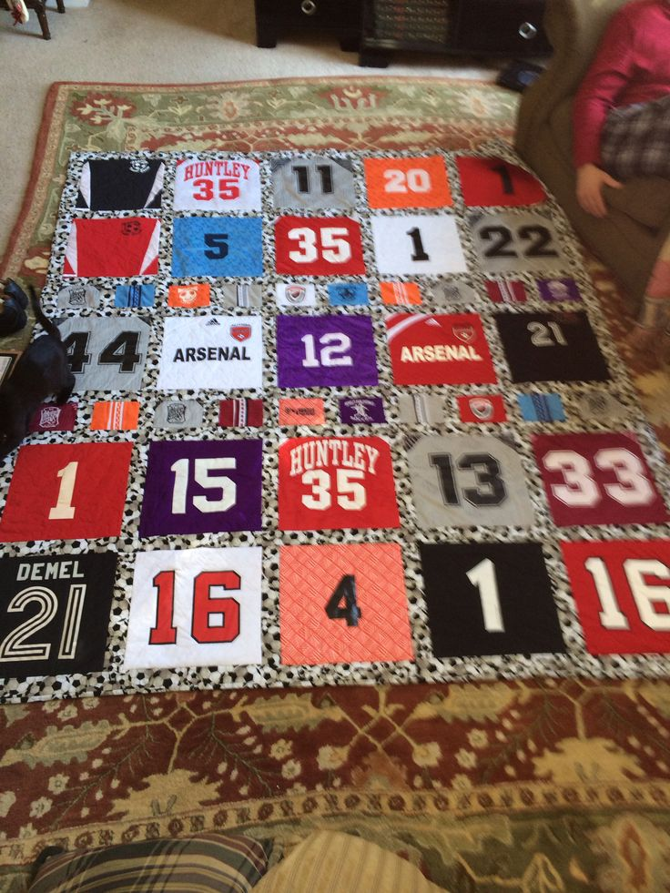 I had a quilt made of all my daughters soccer jerseys from age 4 to 17 years old, as her going off to college gift. Best gift ever... She cried. My cousin made it who's a professional quilter.