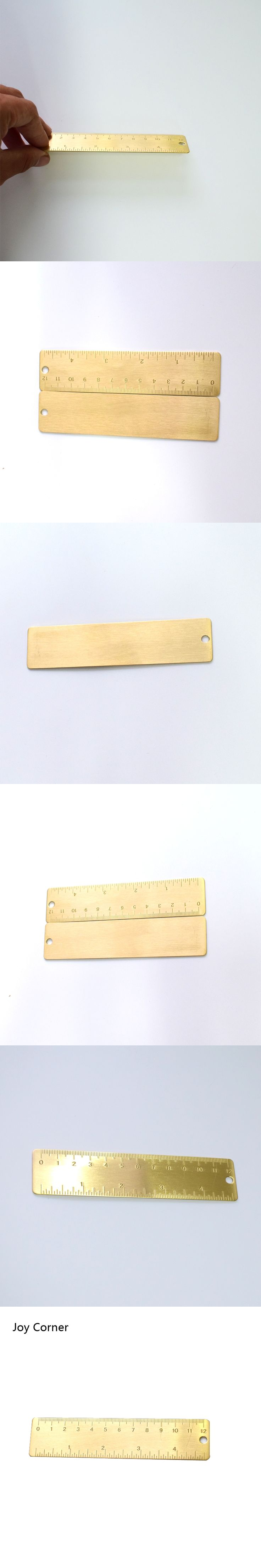 (2 Pieces/Lot) 2016 Brand New Arrive Copper Rulers 12 cm Handmade Retro Portable Scale Small Metal Rulers Pocket Ruler School