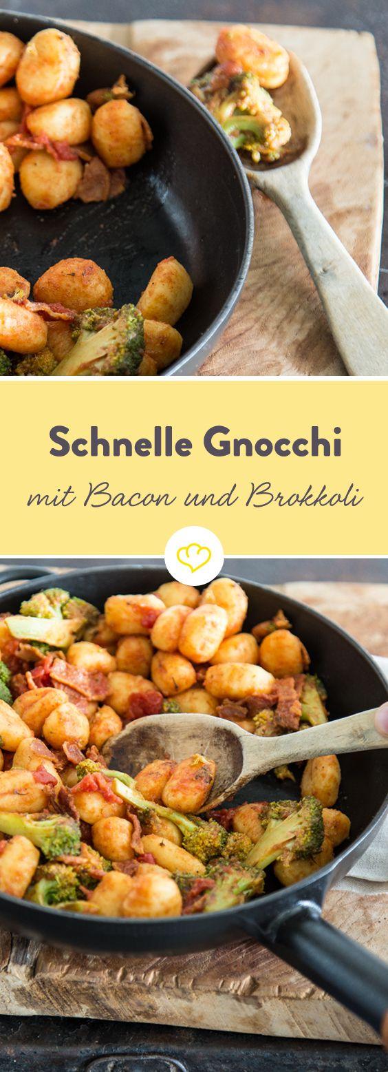 In 25 Minuten fertig: Gnocchi mit Brokkoli und Bacon. Das ist Feierabendküche vom Feinsten!