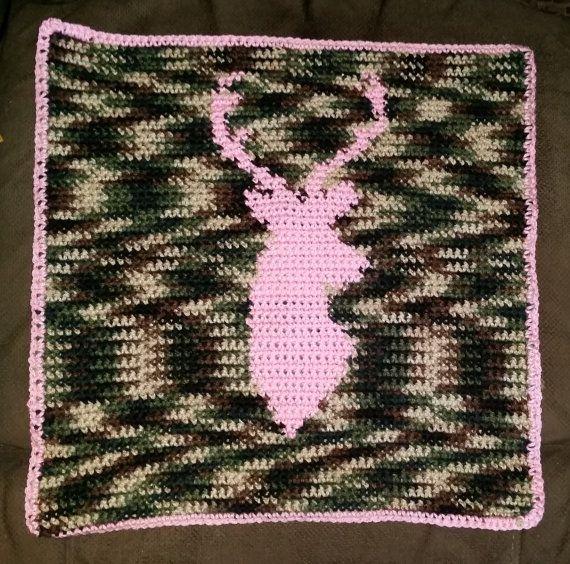 Crochet Baby Blanket, Deer Head, Hunter, Made To Order
