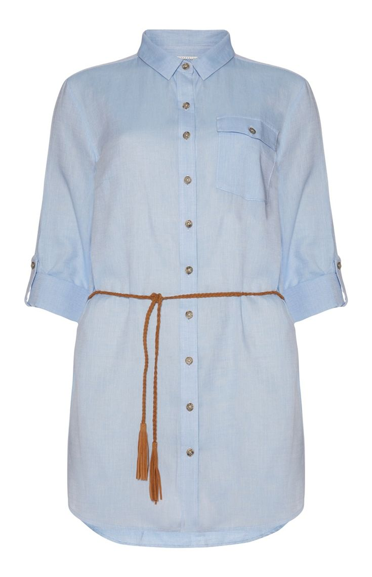 Blue Chambray Long Belted Shirt