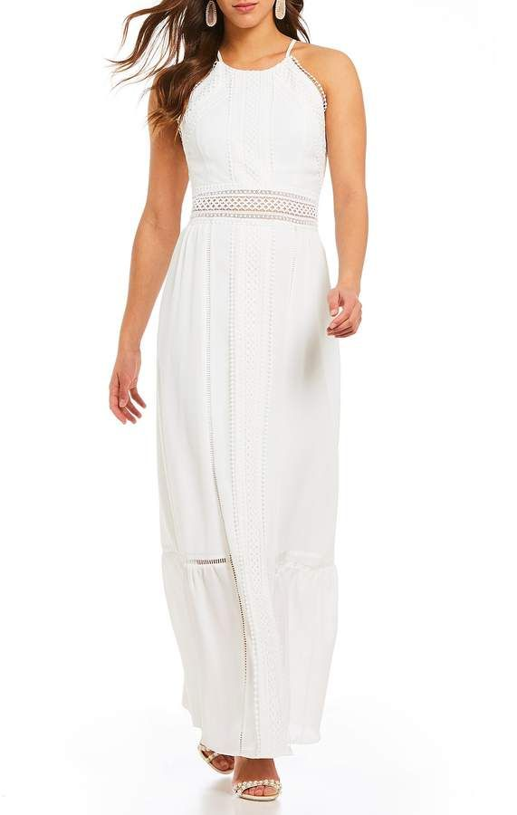 967c005f697f Belle Badgley Mischka Embroidered Eyelet Lace Trim Maxi Dress ...