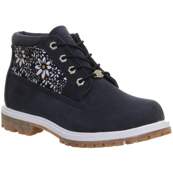 Timberland Nellie Chukka Double Waterproof Boots ($115) ❤ liked on Polyvore featuring shoes, boots, ankle booties, ankle boots, black iris daisy print, women, black chukka boots, waterproof booties, water proof boots and black shootie