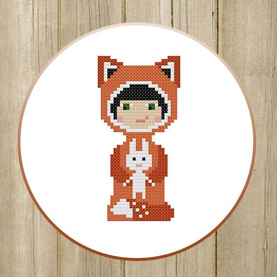PDF. Child Fox and Bunny. Cross stitch pattern, animal fox cross stitch, nursery gift. Digital Download PDF by SecretFriends on Etsy