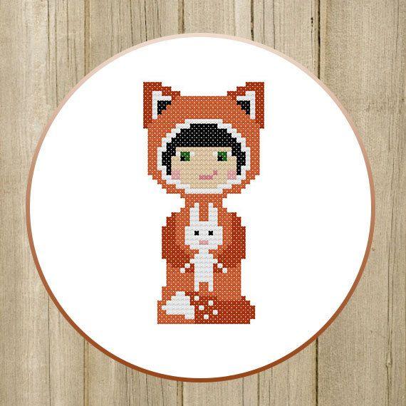 PDF. Child Fox and Bunny. Cross stitch pattern, animal fox cross stitch, nursery gift. Digital Download PDF by SecretFriends on Etsy