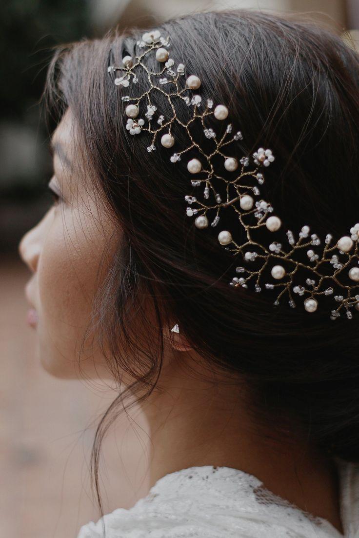 Zierliche Hochzeit Haar Rebe Braut Draht Haar Halo Perle Haar Rebe Boho Kopfschmuck