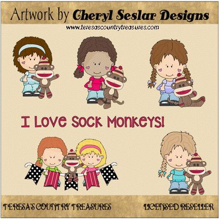 Little Lola and Pals Love #SockMonkeys #Clipart