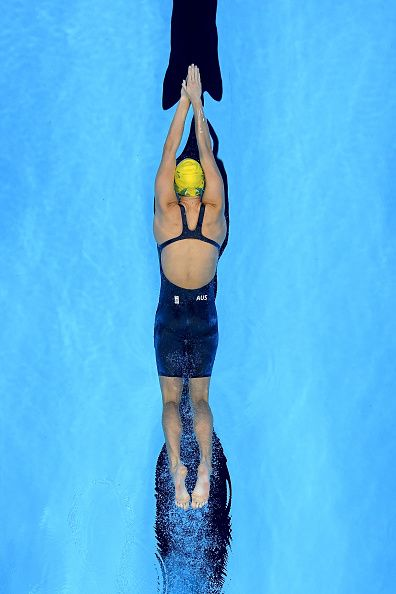 Emma McKeon of Australia competes in the first Semifinal of the Women's 200m Freestyle on Day 3 of the Rio 2016 Olympic Games at the…